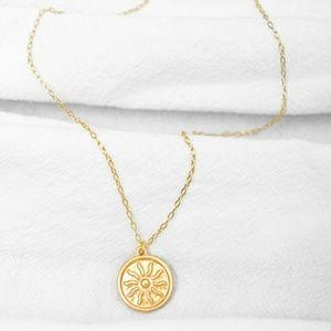 18k Matte Sun Medallion Necklace